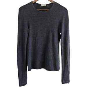 Jil Sander Top  Pullover Cashmere Silk Blend Long Sleeve Round Neck Gray Small