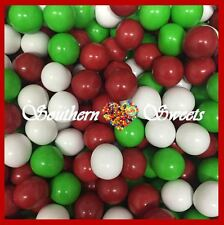 CHRISTMAS CHOCOLATE BALLS 1KG CRUNCHY RED WHITE GREEN CHOC LOLLIES XMAS