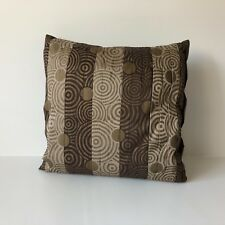 "Pier 1 Imports Decorative Pillow Brown with Gold Print 16"" Sq. Pleated Fabric"