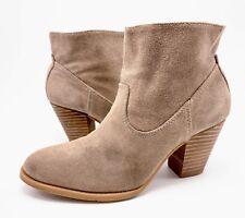 Nine West Hamelin Womens 7.5M Tan Suede Chunky Heel Western Ankle Boots Booties