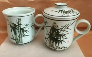 VINTAGE HIS AND HERS TEAVANA STYLE TEA INFUSER CUPS-BAMBOO-SIGNED-LID