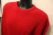 Chaps Ralph Lauren Sz L Crewneck Red Cable Knit Pullover Sweater