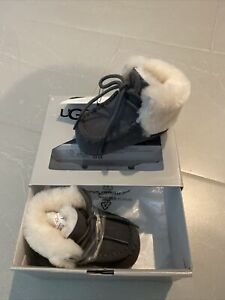 Ugg Infant Baby Grey Sparrow 2 Moccasins Suede Fur Booties 0/1