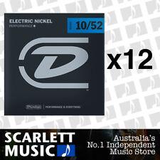 12x Dunlop DEN-1052 Nickel Plated Steel Light Electric Guitar Strings 10 - 52