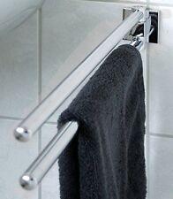 Handtuchhalter 2-armig schwenkbar für Bad / Küche 47 cm chrom Rosette eckig