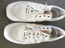 Louis Vuitton Men Cream Leather & Canvas Sneakers Shoes FD 1007 10 US preowned