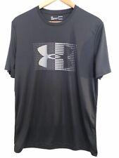 Under Armour Heat Gear Loose Fit Black Short Sleeve Shirt Men's Medium Gray Logo