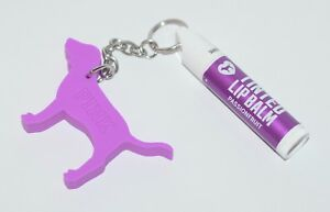 VICTORIA'S SECRET PINK PASSIONFRUIT TINTED LIP BALM STICK PURPLE DOG KEYCHAIN