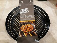 Just Grillin' Round 12-Inch Non-Stick Grilling Skillet - Veggies Meat & More