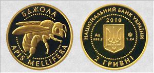 "Ukraine , 2 UAH 2010, Gold coin: ""Honeybee"""