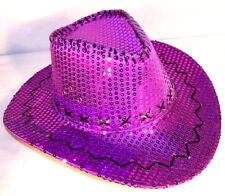 SEQUIN PURPLE COWBOY HAT sparkle flashey dancing hats women headwear caps  new 7373a384f1d1