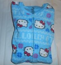 Hello Kitty by Sanrio Junior One (1) Piece Footed Fleece Pajamas Blue Large (L)