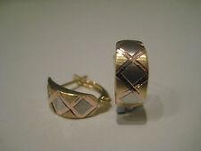 9ct 3 colour gold diamond cut crisscross huggies hoop earrings NEW IN!