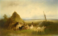 No framed art Oil painting Collie dog with sheeo goats in landscape canvas art