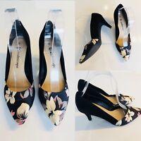 Stunning KALEIDOSCOPE Shoes Slip On Black Floral Detail Wedding UK 4 Low Heel