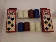 New listing Bicycle Brand 100 Interlocking Plastic Poker Chips Casino Style Colors 2 Pkgs