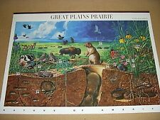 10 AMERICAN NATURE STAMPS ON A SINGLE PICTURE SHEET - GREAT PLAINS PRAIRIE