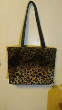 Leopard print fur tote bag