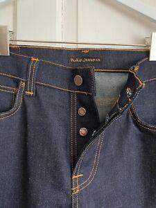 Nudie Indigo Selvedge straight-leg button-fly Italian jeans 32 X 30/32 RRP £149