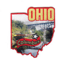 """""""COLUMBUS OHIO""""  State Shape Capitol City Iron On Printed Patch"""