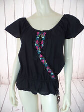 2B BEBE Top Shirt S Black Cotton Pullover Drawstring Waist Embroidery PEASANT!