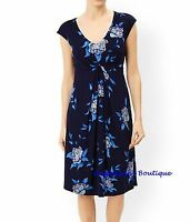 MONSOON NAVY BLUE MULTI FLORAL BLOOM TIE BELT JERSEY TEA DRESS SZ 8-14 NEW SALE