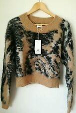 H&m studio collection Brown animal print patterned wool blend jumper UK size 10