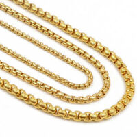 20pcs/Lots Gold Stainless Steel Box Chain Necklace for Men Women Wholesale Bulk