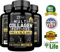 MULTI COLLAGEN PEPTIDES PROTEIN 180 Capsules 2000 mg Hydrolyzed Type Supplement