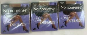 3 pr No nonsense Sheer Endurance Control Top Pantyhose - Size B - beige mist