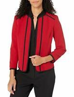 MSRP $119 Kasper Jewel Neck Fly Away Stretch Jacket Piping Detail Size 12
