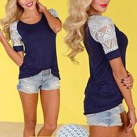 Damenmode Spitze Kurzarm T-Shirt Bluse Top Oberteil Langhemd Tunika NEU P,Deko