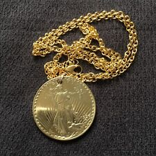 """Gold Plated Novelty Twenty Dollar Coin Style Necklace 24"""" **UNIQUE GIFT ITEM**"""