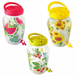 Sun Tea Glass Jars with Spigot One GALLON Assorted Styles & Color
