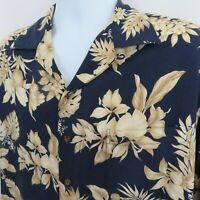 Iolani Leaves Orchids Hibiscus Navy Blue Tan Mens M Aloha Hawaiian Shirt