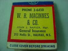 1949 Welcome to Halifax W.R Macinnes General Insurance Advertising Matchbook