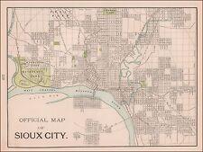 Sioux City, Iowa, Antique City Map, Original, 1897