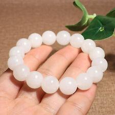 12MM Chinese Natural Hetian White Jade HandCarving Buddha's Beads Bracelets