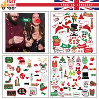 Christmas Party Xmas Selfie Fun Photo Booth Prop Set Mustache Lip on Stick