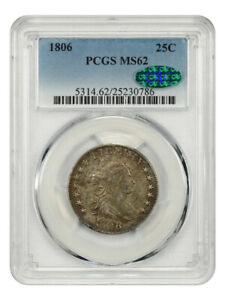 1806 25c PCGS/CAC MS62 - Wonderful Early Type Coin - Bust Quarter