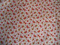 "coupon tissu "" petites fleurs rouge ""  73 X 75 cm"
