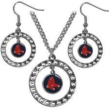 MLB Boston Red Sox Rhinestone Set Hoop Necklace Circle Jewelry Earrings