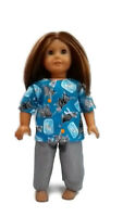 "Scrubs fits American Girl 18"" Doll Clothes .Cats with Fish Bowl Print"