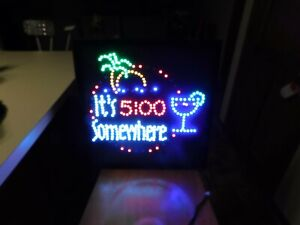 "LED LIGHT  MARGARITAVILLE 5 OCLOCK SOMEWHERE SIGN MAN CAVE 19"" X 19"""