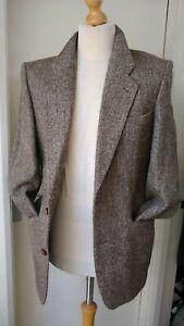 Vintage Chatsworth Harris Tweed Blazer Jacket Mans Mens Size S Brown Herringbone