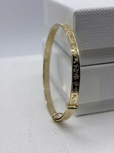 Solid 9ct Gold 3mm Baby Expandable Bangle Free Engraving 40mm Diameter New