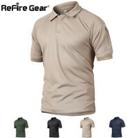 ReFire Gear Mens Army Tactical Polo Shirt Quick Dry Outdoor Sport Hiking T-Shirt