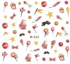 Nail Art Stickers Water Decals Transfers Circus Red Balloons (M+202)