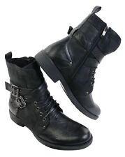 Mens Punk Rock Goth Elmo Ankle Boots Brown Black Leather Buckle