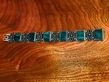 - ELEGANT RUSSIAN 916 SILVER BRACELET WITH INSET MALACHITE AND FILIGREE SPACERS